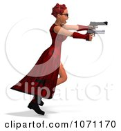 Clipart 3d Female Agent In Red Holding Two Revolvers 1 Royalty Free CGI Illustration by Ralf61
