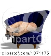 Clipart 3d Fawn Great Dane Dog Resting In A Chair Royalty Free CGI Illustration
