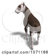 Clipart 3d Bull Terrier Dog Walking Away Royalty Free CGI Illustration