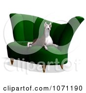 Clipart 3d Bull Terrier Dog Sitting On A Chair Royalty Free CGI Illustration