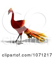 3d Red Peacock Or Phoenix 4