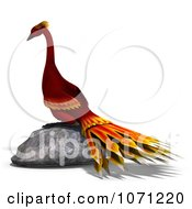 Clipart 3d Red Peacock Or Phoenix On A Rock Royalty Free CGI Illustration by Ralf61