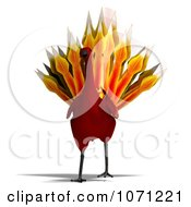 3d Red Peacock Or Phoenix 1