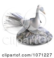 Clipart 3d White Peacock On A Rock Royalty Free CGI Illustration by Ralf61