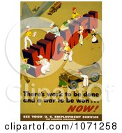 Illustration Of Women Building The Word WOMEN Theres Work To Be Done And A War To Be Won  NOW Royalty Free Historical Stock Clipart by JVPD