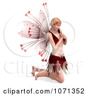 Clipart 3d Romance Love Fairy Kneeling Royalty Free CGI Illustration