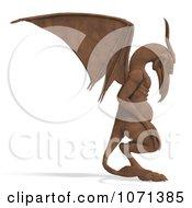 Clipart 3d Fantasy Sandstone Gargoyle Statue 3 Royalty Free CGI Illustration