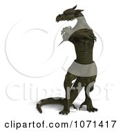 Clipart 3d Dark Green Fantasy Dragon With Crossed Arms Royalty Free CGI Illustration