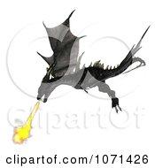 Clipart 3d Fantasy Black Fire Breathing Forktail Dragon 1 Royalty Free CGI Illustration
