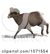 Clipart 3d Running Ovis Aries Sheep Ram With Curled Horns 1 Royalty Free CGI Illustration