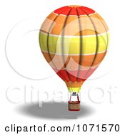 Clipart 3d Red Orange And Yellow Hot Air Balloon Royalty Free CGI Illustration