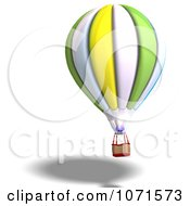 Clipart 3d Green White And Yellow Hot Air Balloon 2 Royalty Free CGI Illustration