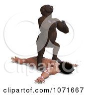 Clipart 3d Gorilla Standing Over Tarzan And Banging On His Chest Royalty Free CGI Illustration