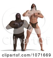 Clipart 3d Gorilla And Tarzan Yelling And Hitting Their Chests Royalty Free CGI Illustration by Ralf61