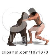 Clipart 3d Gorilla And Tarzan Staring At Each Other Royalty Free CGI Illustration by Ralf61