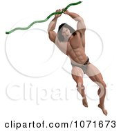 Clipart 3d Strong Tarzan Man Swinging From A Vine 1 Royalty Free CGI Illustration by Ralf61