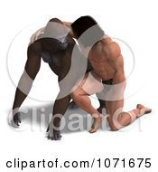 Clipart 3d Gorilla And Tarzan Looking At Each Other Royalty Free CGI Illustration by Ralf61
