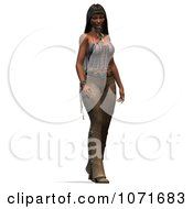 Clipart 3d Beautiful Native American Indian Woman Standing Royalty Free CGI Illustration