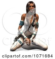 Clipart 3d Beautiful Native American Indian Woman Kneeling Royalty Free CGI Illustration