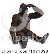 Clipart 3d Gorilla Looking Out 2 Royalty Free CGI Illustration by Ralf61