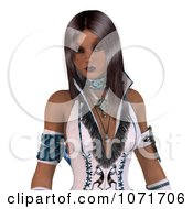 Clipart 3d Beautiful Native American Indian Woman In White Leather Royalty Free CGI Illustration