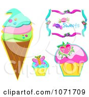 Clipart Ice Cream And Cupcakes Royalty Free Vector Illustration by bpearth