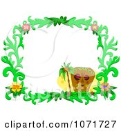 Clipart Tiki Hibiscus Flower And Palm Tree Frame Royalty Free Vector Illustration by bpearth