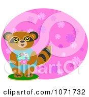 Birthday Raccoon Holdinga Cupcake
