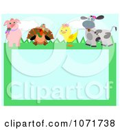 Clipart Pig Turkey Duckling And Cow Farm Animal Frame Royalty Free Vector Illustration