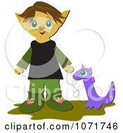 Elf Boy With A Pet Dragon