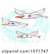 Clipart Three Seagulls Wearing Flowers And Flying Royalty Free Vector Illustration
