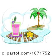Clipart Tropical Beverage And Hibiscus Flower By A Surfboard And Palm Tree Royalty Free Vector Illustration by bpearth