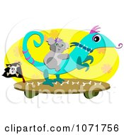 Clipart Happy Koala Riding A Lizard On A Skateboard Royalty Free Vector Illustration by bpearth