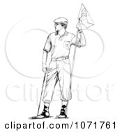 Clipart Black And White Sketched Retro Male Golfer Holding A Flag Royalty Free Illustration