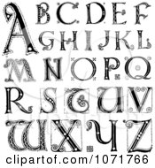 Clipart Black And White Capital Vintage Styled Alphabet Letters Royalty Free Vector Illustration