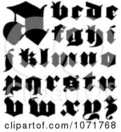 Clipart Black And White Lowercase Vintage Styled Calligraphy Alphabet Letters Royalty Free Vector Illustration