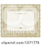 Clipart Golden Certificate Frame Invitation With Copyspace 1 Royalty Free Vector Illustration
