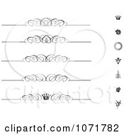 Clipart Black And White Swirl Vintage Rule Borders And Icons Royalty Free Vector Illustration