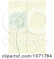 Green Lilac And Beige Damask Floral Invitation With Copyspace