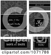 Clipart Grayscale Damask Floral Invitation And Design Elements With Sample Text Royalty Free Vector Illustration