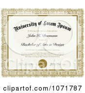 Clipart Bachelor Of Arts In Design Certificate With Sample Text Royalty Free Vector Illustration