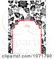 Clipart Black And White Floral Invitation With Red Around Copyspace 1 Royalty Free Vector Illustration