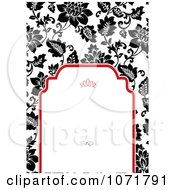Clipart Black And White Floral Invitation With Red Around Copyspace 2 Royalty Free Vector Illustration