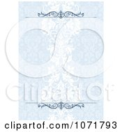 Clipart Blue Damask Floral Invitation Background With Rules Royalty Free Vector Illustration