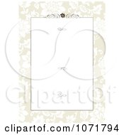 Clipart Tan Floral Invitation With Copyspace Swirls And A Rose Royalty Free Vector Illustration