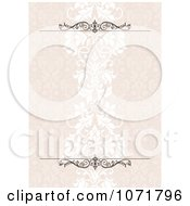 Clipart Pastel Pink Damask Floral Invitation With Copyspace And Rules Royalty Free Vector Illustration