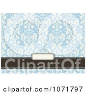 Clipart Blue And Brown Floral Damask Invitation With Copyspace 3 Royalty Free Vector Illustration