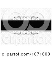 Clipart Black And Gray Swirl Floral Damask Invitation With Copyspace Royalty Free Vector Illustration