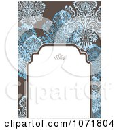 Clipart Blue And Brown Floral Damask Invitation With Copyspace 2 Royalty Free Vector Illustration