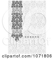 Clipart Gray Damask Floral Invitation With Copyspace Royalty Free Vector Illustration